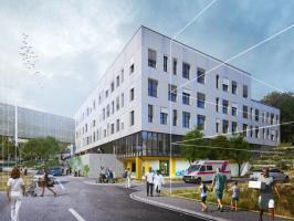 Vizualizace nového pavilonu a jeho poloha v Nemocnici Pelhřimov