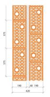 Schéma dvojité konstrukce z cihel Porotherm 19 AKU Profi