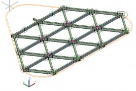 Šikmý trojsměrný rošt ocelové konstrukce střechy s trojúhelníkovým polem (rovnoramenný trojúhelník, základna 8 m). Zatěžovací plocha nosníku roštu 16 m2 pro plné pole, resp. 8 m2 pro krajní pole. Vnitřní styčníky jsou tuhé, podpory kloubové. Podporové nosníky byly uloženy na elastomerové ložisko.