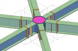 Model styčníku ocelové konstrukce