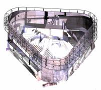 Ocelová konstrukce pro zavěšené lamely na fasádě, jihozápadní pohled