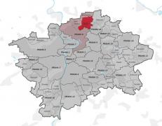 Obr. 2: Ďáblice se nacházejí na severu Prahy. Kanalizace musí být svedena z toho to vyššího území dolů do hlavní čistírny odpadních vod na břehu řeky Vltavy