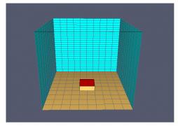 Dispozice modelovaného prostoru – axonometrie