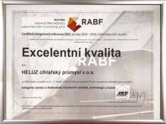 """Ocenění """"Excelentní kvalita"""" pro HELUZ v Ratingu ABF"""