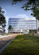 Novostavba Schüco One, kterou projektovalo proslulé kodaňské architektonické studio 3XN, by měla být hotová ve třetím čtvrtletí 2021 (zdroj: 3XN Architects)