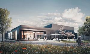 Návštěvnické centrum Schüco Welcome Forum bude fungovat jako hlavní kontaktní bod pro návštěvníky. Jeho dokončení se plánuje na čtvrté čtvrtletí roku 2021 (zdroj: one fine day / Studio Dragusha)