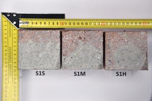 Obr. 10: Vzorky konzistence S1 seřazené podle frekvence hutnění – příčný řez