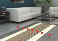 Baumit Nivello Quattro – příklad skladby konstrukce při použití podlahového vytápění s elektrickým odporovým drátem: 1 - Podkladní beton, 2 - Baumit SuperPrimer – základní nátěr, 3 - Elektrický odporový drát – podlahové vytápění, 4 - Baumit Nivello Quattro – samonivelační sádrová stěrka, 5 - Baumit Baumacol FlexTop / FlexUni – lepicí malta , 6 - Baumit Baumacol PremiumFuge – spárovací hmota