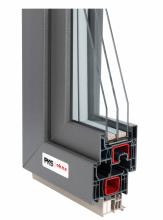 Plastové okno 76 - profil Deceuninck Elegant, šedý