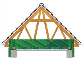 Obr. 14: Správné provedení střechy s funkční ventilací střešní dutiny, tj. s dostatečnými otvory i v podbití přesahů a správným průběhem ventilace pod podstřešní membránou, resp. pod bedněním, na kterém membrána leží