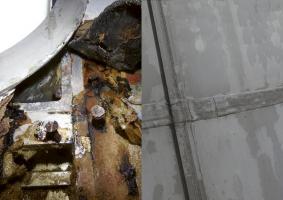 Hliníkový plášť je na pokraji životnosti: degradace vlivem kondenzace, degradovaná tepelná izolace, elektrochemická koroze. Hliníkový plášť bude kompletně vyměněn s novými parametry
