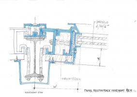 Nosný systém obvodového pláště v 2. NP (restaurace) – současný stav; horizontální řez