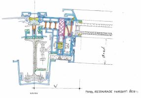 Nosný systém obvodového pláště v 2. NP (restaurace) – návrh; horizontální řez