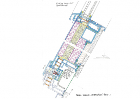 Obvodový plášť v patrech s hotelovými pokoji – návrh; vertikální řez