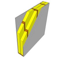 Obr. 2: C - stěna s dřevěnou rámovou konstrukcí