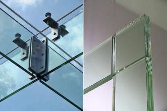 Obr. 5: Vrstvené sklo – nosníky zastřešení vstupu do podzemního parkoviště před Narodowe Forum Muzyki ve Wrocławi, řešení rámového rohu z vrstveného skla, Glasstec 2010, Düsseldorf