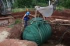 Monolitická samonosná nádrž na dešťovou vodu Columbus a její instalace